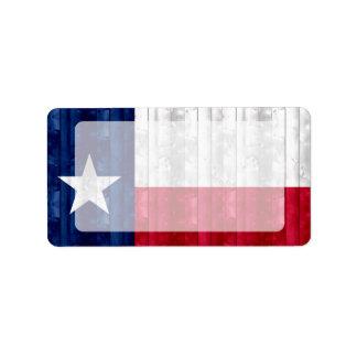 Hölzerne Texan-Flagge Adressaufkleber