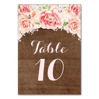 Hölzerne Tischnummer-Karten rosa Watercolor-Browns Karte