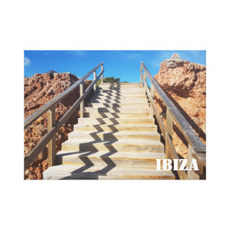 hölzerne Treppenhaus-Leinwand durch den Felsen Leinwanddruck