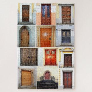Hölzerne Tür-Collage Puzzle