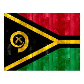 Hölzerne Vanuatan Flagge Postkarte