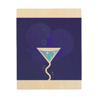 Hölzerne Wandkunst mit Martini-Cocktail Holzleinwand