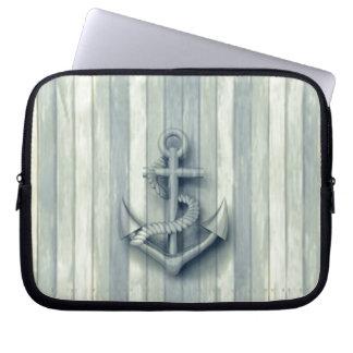 Hölzerner Blick des Vintagen noblen nautischankers Laptop Sleeve