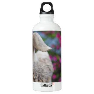 Hölzerner Entenkopf mit Blumen Aluminiumwasserflasche