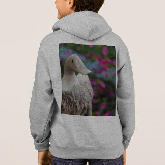 Hölzerner Entenkopf mit Blumen Hoodie