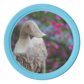 Hölzerner Entenkopf mit Blumen Poker Chip Set