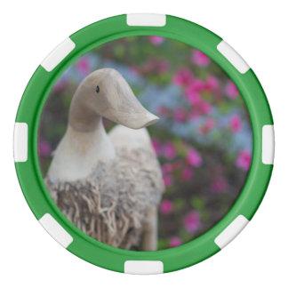 Hölzerner Entenkopf mit Blumen Poker Chips