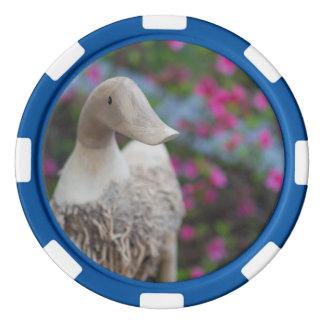 Hölzerner Entenkopf mit Blumen Poker Chips Set