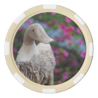 Hölzerner Entenkopf mit Blumen Pokerchips