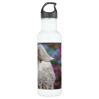 Hölzerner Entenkopf mit Blumen Trinkflasche