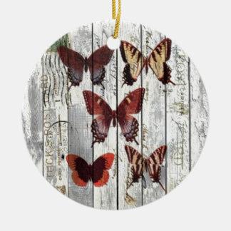 hölzerner französischer Shabby Chicschmetterling Keramik Ornament