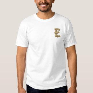 Hölzernes Alphabet E Besticktes T-Shirt
