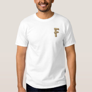 Hölzernes Alphabet F Besticktes T-Shirt