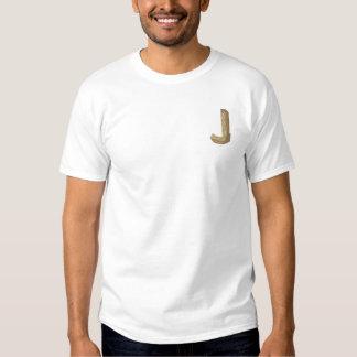 Hölzernes Alphabet J Besticktes T-Shirt