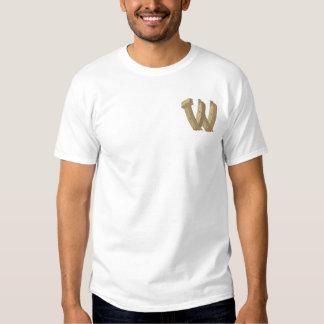 Hölzernes Alphabet W Besticktes T-Shirt