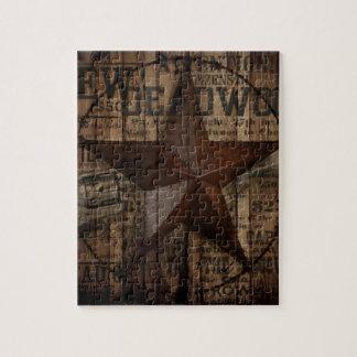 Hölzernes einziger Stern Westernland Texas der Puzzle