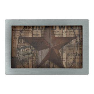 Hölzernes einziger Stern Westernland Texas der Rechteckige Gürtelschnalle