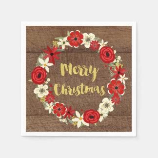Hölzernes Goldrote BlumenKranz-Weihnachtsserviette Papierserviette