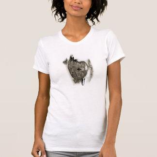 Hölzernes Herz ich + Sie = Liebe T-Shirt