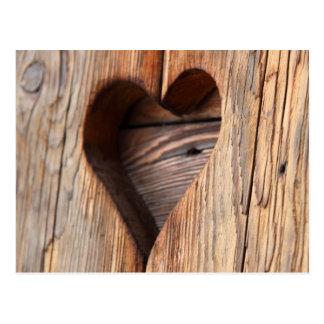 Hölzernes Herz Postkarte