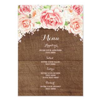Hölzernes Hochzeits-Menü rosa Karte