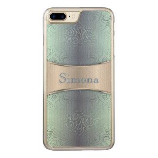 Hölzernes iPhone 7 Plusabstrakte mit Blumendamaste Carved iPhone 8 Plus/7 Plus Hülle