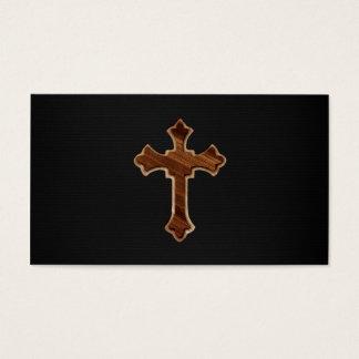 Hölzernes Kreuz auf dunklem Gewebe-Bild-Druck Visitenkarte