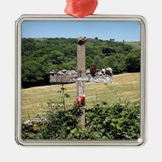 Hölzernes Kreuz, EL Camino, Spanien Silbernes Ornament