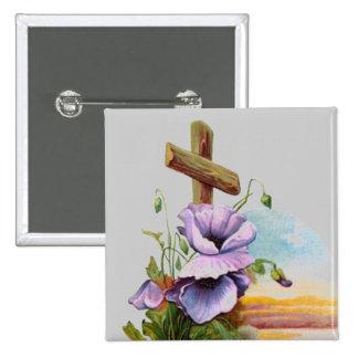 Hölzernes Kreuz mit lila Blumen Quadratischer Button 5,1 Cm