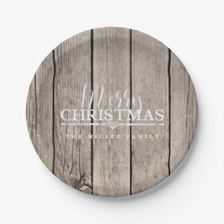 Hölzernes Land-Weihnachten Pappteller