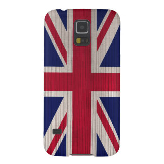 Hölzernes Muster mit Briten gravierte Flagge Hülle Fürs Galaxy S5