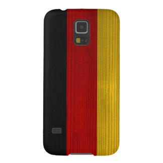 Hölzernes Muster mit gravierter Deutschland-Flagge Samsung Galaxy S5 Hülle