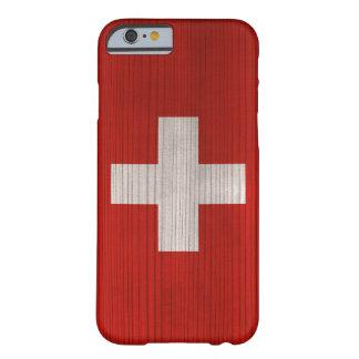 Hölzernes Muster mit gravierter die Schweiz-Flagge Barely There iPhone 6 Hülle