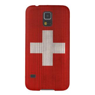 Hölzernes Muster mit gravierter die Schweiz-Flagge Galaxy S5 Hülle