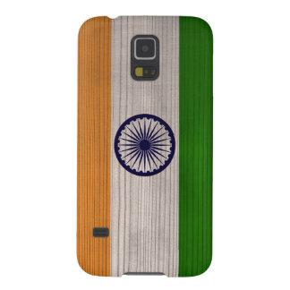 Hölzernes Muster mit gravierter Indien-Flagge Samsung Galaxy S5 Hülle