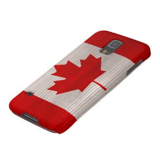 Hölzernes Muster mit gravierter Kanada-Flagge Samsung Galaxy S5 Hülle