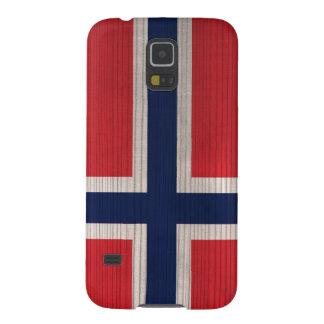 Hölzernes Muster mit gravierter Norwegen-Flagge Samsung S5 Cover