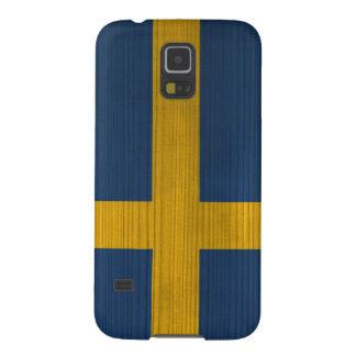 Hölzernes Muster mit gravierter Schweden-Flagge Hülle Fürs Galaxy S5