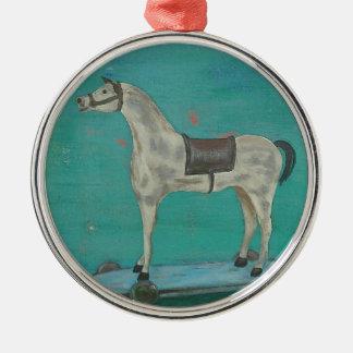 Hölzernes Pferd Rundes Silberfarbenes Ornament