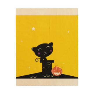 HÖLZERNES PLAKAT: mit schwarzem Kätzchen Holzdruck