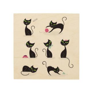 HÖLZERNES PLAKAT: schwarze Kätzchen Meowausgabe Holzwanddeko