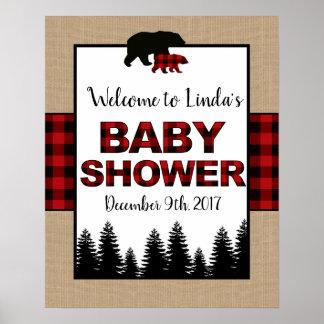Holzfäller-Babyparty-Willkommensschild-Plakat Poster