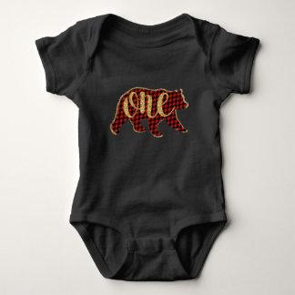 Holzfäller-Bärn-erste Geburtstags-Shirts Baby Strampler