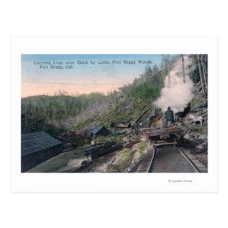 Holzfäller, die Klotz über Gulch durch Kabel Postkarten