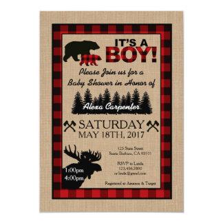 Holzfäller-kleine Jäger-Babyparty-Einladung Karte