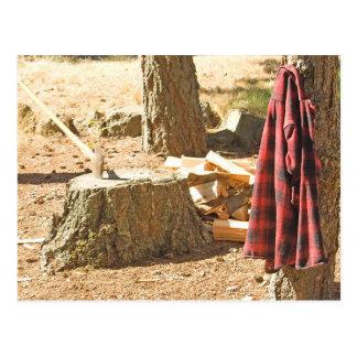 Holzfäller-Leben Postkarte