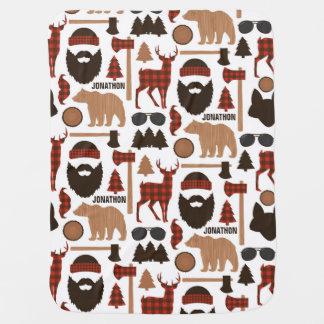 Holzfäller-Muster-Baby-Decken-individueller Name Babydecke