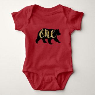 Holzfäller-Waldbärn-1. Geburtstags-Shirts Baby Strampler