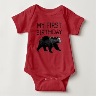Holzfäller-Waldbärn-erste Geburtstags-Shirts Baby Strampler
