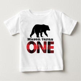 Holzfäller-Wildnis-Jungen-erstes Geburtstags-Shirt Baby T-shirt